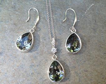 SET, Black Diamond Swarovski®  crystal necklace and earrings  set