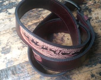 Leather belt, Animal embossing belt, Handmade belt, Brown leather belt, African  belt, Men belt, Casual belt, Boho belt, Gift for him
