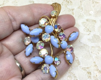 Vintage Blue Milk Glass Rainbow AB Floral Brooch Earring Set