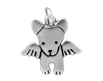 Tiny Angel Dog Necklace - Sterling Silver Dog Pendant - Dog with Wings Charm - Pet Memorial