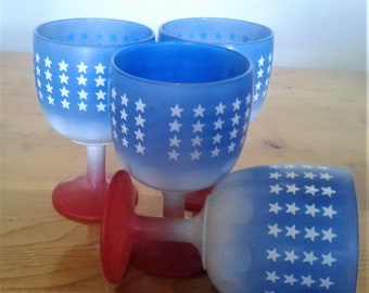 Four Vintage Red White And Blue Patriotic Stemmed Or Footed Glasses With Stars