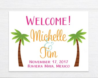 Wedding Welcome Bag Stickers, Wedding Welcome Box Labels, Destination Wedding, Wedding Favor Stickers, Personalized Wedding Labels, Tropical