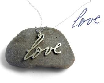 14k White Gold Handwriting Necklace | Custom Handwriting Gold Necklace | White Gold Love Necklace