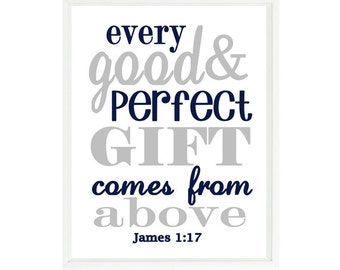 James 1:7 Wall Art, Scripture Art, Every Good And Perfect Gift Comes From Above, Baby Boy Nursery Art, Religious Gift, Inspirational Print