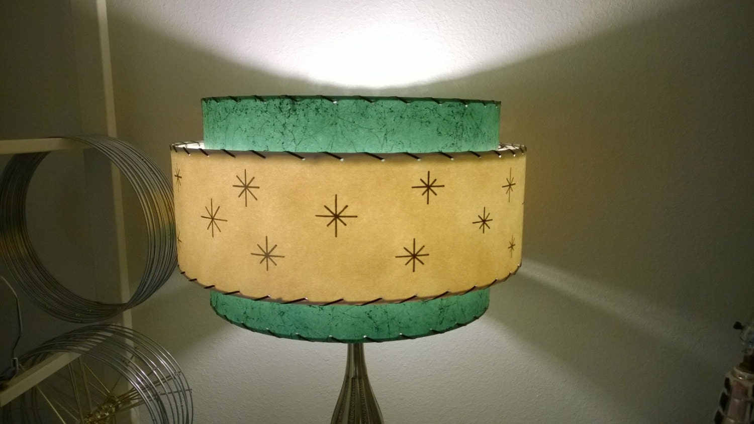 Mid century vintage style 3 tier fiberglass lamp shade zoom aloadofball Image collections