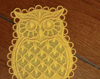Embroidered Ornament - Christmas - Owl - Yellow
