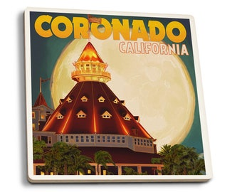 San Diego, CA Hotel Del Coronado & Moon LP Artwork (Set of 4 Ceramic Coasters)