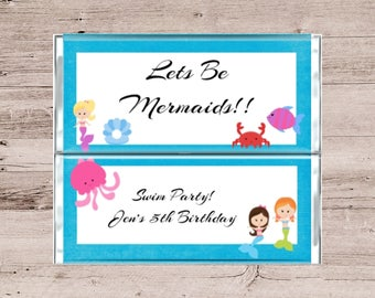 Mermaid Party Invitations-Mermaid Birthday Invitation-Girls Birthday Party Chocolate Wrapper Invitations-Mermaid Candy Wrapper Invitations