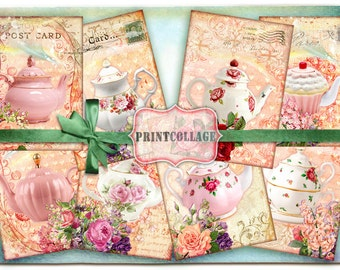 Shabby Chic Teapot Digital Collage Sheet Designed Gift Tags and Cards for Scrapbooking Printable Vintage Paper for Jewelry Holders Tags T25