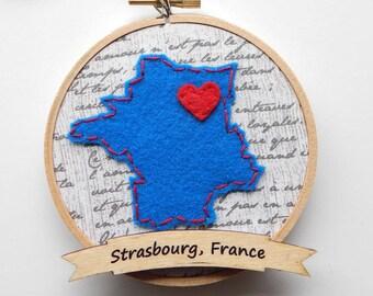 Custom France Embroidery Hoop Ornament