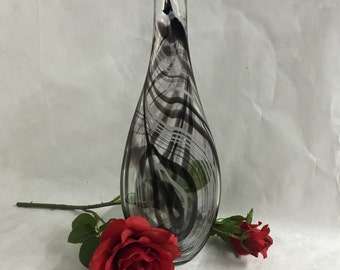 Tall Black and White Cane Sculpted Blown Glass Vase