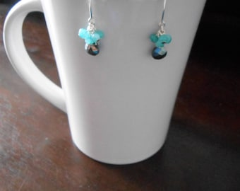 Black Spinel And Aquamarine Drop Earrings