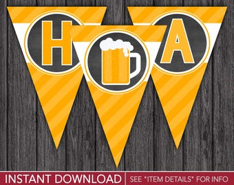 Cheers and Beers Happy Birthday Banner - Printable Digital File - INSTANT DOWNLOAD