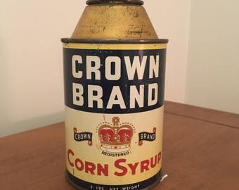 Vintage Crown Brand Corn Syrup Coin Bank Tin