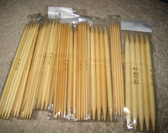 """Biggest sale !! NICE  full set(15 sizes US 0 to 15, total 75 Needles) double pointed point Bamboo Knitting Needles DPN 6"""", 7"""" or 8"""""""
