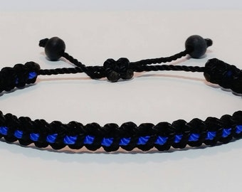 Thin blue line bracelet -support Police wristband -braided -new -adjustable for man and woman