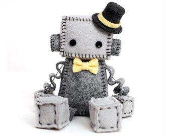 Gray Plush Felt Robot with Top Hat and Yellow Bow Tie, Robot Plush, Geek Plush