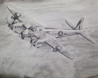 De Havilland Mosquito A3 Pencil/ Charcoal Original Drawing