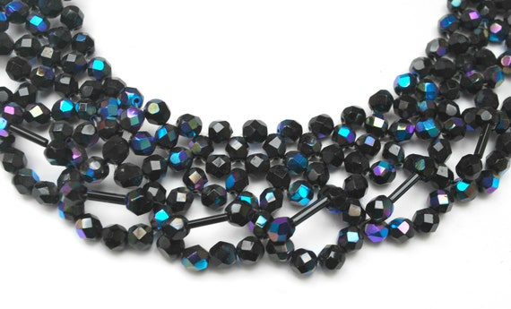 Woven Bead Collar Necklace - Black Czech glass beads   - Aurora borealis  Bead cluster clasp  choker necklace