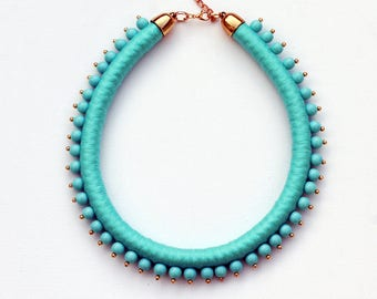 Statement necklace / rope necklace / beaded jewelry / necklace / turquoise / beads / bib necklace / for her / gift ideas / handmade