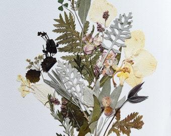 Pressed flower art Herbarium Dried flower art Flower picture Pressed botanicals Wall art set Botanical art Original artwork Flower picture