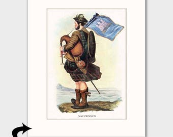 "Clan MacCrimmon Family Art Print w/Mat (Bagpiper Art Gift, ""Pipers to the Chiefs of Clan MacLeod"") --- Matted Scotland Art"