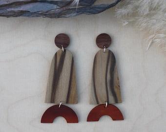 Dangle earrings, statement earrings, big earrings, wooden earrings, reclaimed wood, surgical steel, earrings, wood earrings