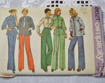 Vintage Simplicity 6621 Sewing Pattern Misses Shirt Jacket Blouse Pants Size 16  DIY Sewing Crafts PanchosPorch