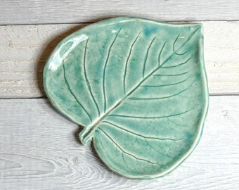 Heart Leaf - Ring Dish - Spoon Rest - Aqua - Soft Turquoise - Handmade Pottery