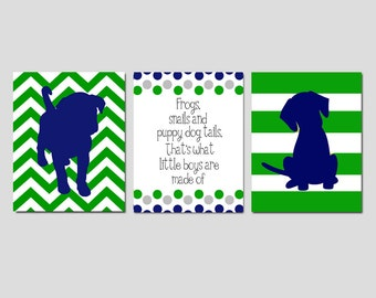 Baby Boy Puppy Nursery Art Trio - Set of Three 8x10 Prints - Chevron Stripe Puppy Dogs, Polka Dot Quote - Frogs Snails and Puppy Dog Tails
