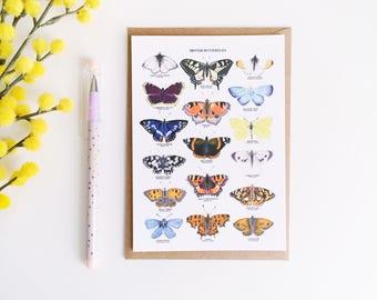British Butterflies Postcard - Gouache Art Print - Butterfly Illustration - British Nature Print - Butterfly Print - Botanical Art - A6