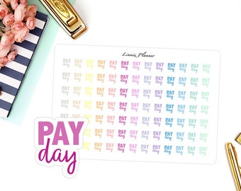 Payday Words (matte planner sticker, Erin Condren, Happy Planner, Filofax, Kikki K)