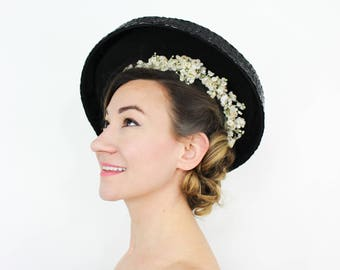 40s Black Straw Platter Hat | White Flower Inner Ring
