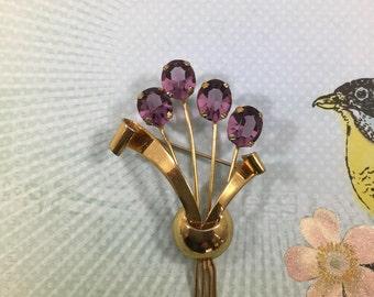 Vintage Sterling Silver Vermeil Purple Rhinestone Floral Brooch