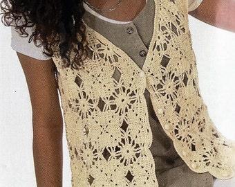 Crochet Motif Vest Pattern, Crochet Vest PATTERN,  Womens Ladies Summer -PDF Download