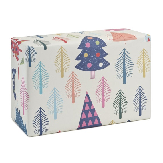 WHITE CHRISTMAS. Christmas wrapping paper. Creative bright coloured trees. White background. For family, friends, children.