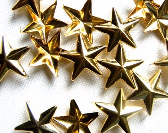 """50 1"""" GOLD Star Studs - Big Chunky 28mm metal star studs great for embellishing leather, denim & more - Ships quickly from US"""