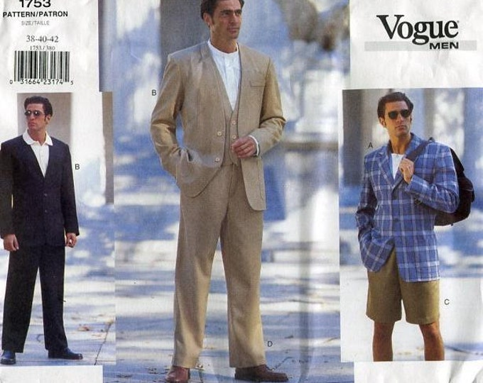 Vogue 1753 FREE US SHIP Men's Suit Collarless Jacket Pants Vest Shorts Sewing Pattern New Old Store Stock Chest 32 34 36, (Last size left)