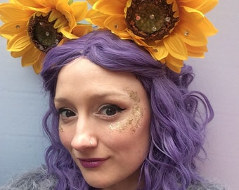 Sunflower Minnie Mouse Earred  Headband