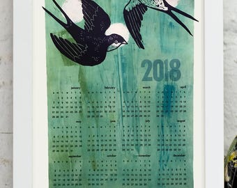 2018 Wall Calendar- Letterpress Printed Birds