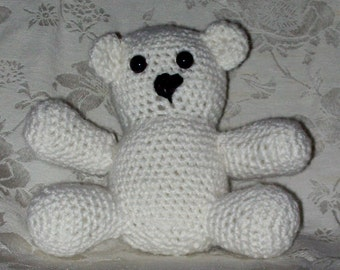 Stuffed Teddy Bear, Small Size 5 Inches Tall, White Bear, Plush Toy