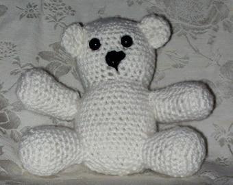 Small Crochet Stuffed Teddy Bear Handmade Toy Bear White Teddy Bear With Black Plastic Saftey Eyes