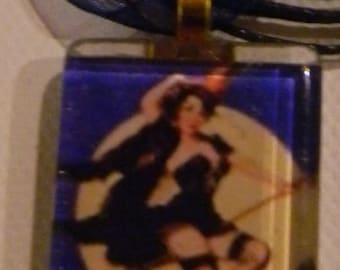 Purple  Moon Vintage Style Pinup Calendar Girl Glass  Necklace-  w/Organza Ribbon Cord