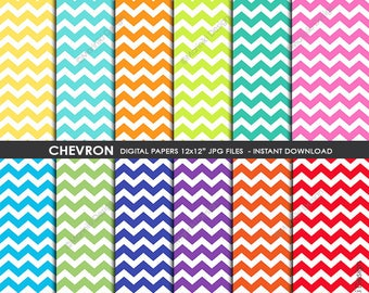 Chevron Digital Paper Pack, Colorful Stripes Chevron Patterns for Backgrounds Invitations Scrapbooking Cards INSTANT DOWNLOAD PAPERS P11