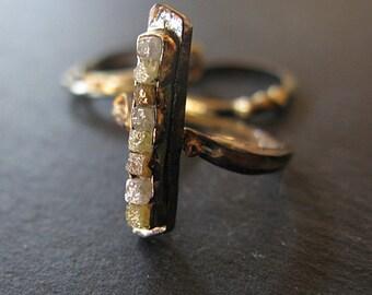 Woodland Engagement Ring Unique Engagement Ring Diamond Cube Ring Raw Diamond Ring Rough Diamond Ring Uncut Diamond Ring Alternative Wedding