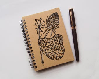 Teasel & Pinecone- Lino Print A6 Hardback Notebook Hand-Printed