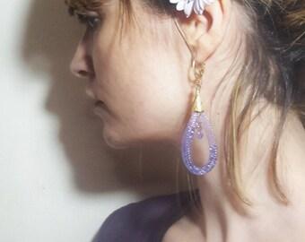 Purple Teardrop Earrings - Crystal earrings - gold and puple