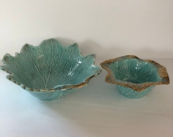 Leaf Dish California Original Pottery #105 #181B,Aqua Gold Vintage, MOD Mid Century 1950's Pottery, Leaf Dish USA,Mid Century Decor