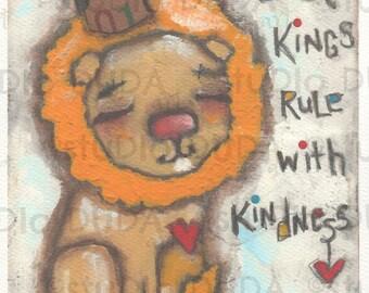 Print of my original Boys Room Nursery Lion painting - The Best Kings - 5 x 7