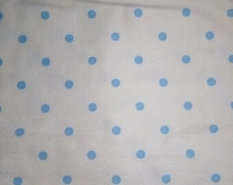 Baby Blue Polka Dots on White Flannel Fabric